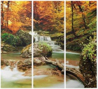Tríptico Otoño arroyo bosque con árboles amarillos