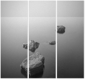 Tríptico Paisagem enevoada minimalista. Preto e branco.