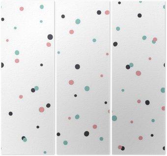 Tríptico Patrón abstracto sobre fondo blanco con Negro y Gol