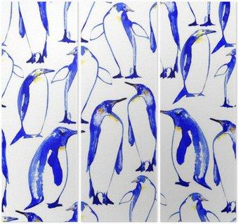 Tríptico Pingüinos mano inconsútil pattern.Watercolor ejemplo dibujado.