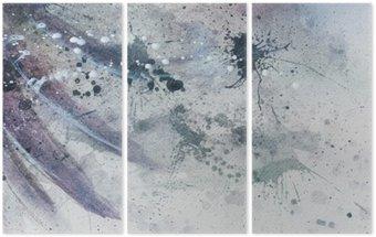Tríptico Pintura abstrata com estrutura borrada e manchada com silhueta pena suave.
