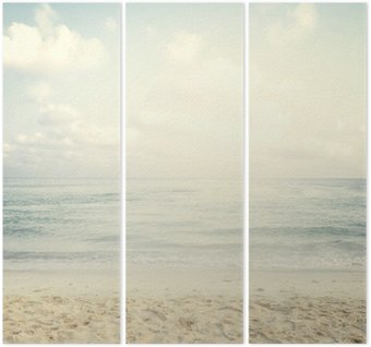 Tríptico Praia tropical do vintage no verão
