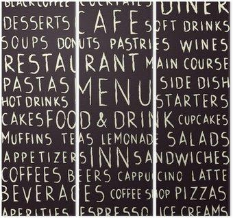 Tríptico Restaurante manuscrita relacionada patrón transparente en la pizarra