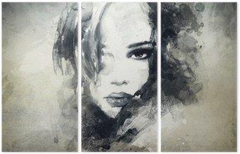 Tríptico Retrato de mujer abstracta