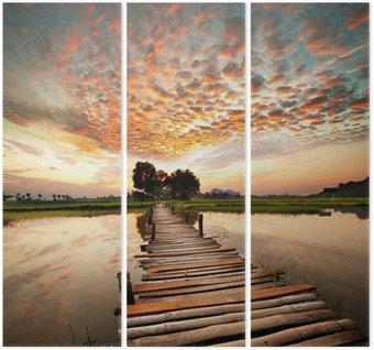 Tríptico Río en la puesta del sol