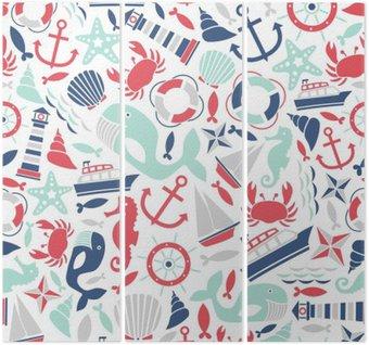 Tríptico Seamless com ícones do mar