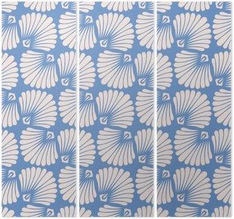 Tríptico Teste padrão sem emenda do vintage com conchas estilizados