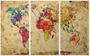 Tríptico Vintage world map. Colorful paint, watercolor on grunge paper