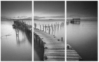 Triptych A peaceful ancient pier