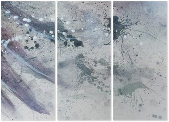 Triptych abstract painting with blurry and stained structure with gentle feather silhouette.