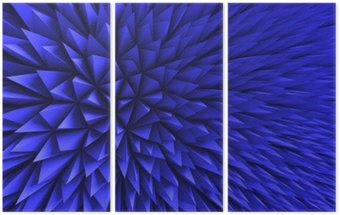 Triptych Abstract Poligon Chaotic Blue Background