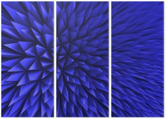 Abstract Poligon Chaotic Blue Background Triptych