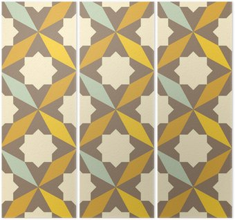 Triptych abstract retro geometric pattern