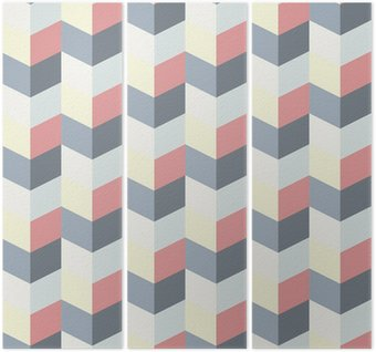 abstract retro geometric pattern Triptych