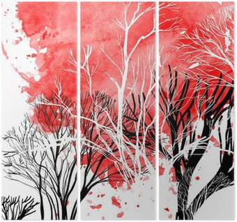 Triptych Abstract silhouette of trees