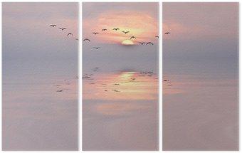 Triptych amanecer de colores suaves
