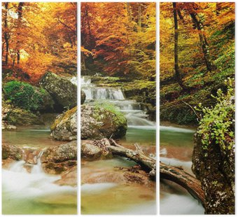 Triptych Autumn creek woods with yellow trees