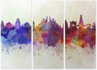 Triptych Bali skyline in watercolor background