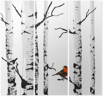 Triptych Bird of birches, vector drawing with editable elements.