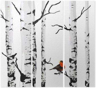 Bird of birches, vector drawing with editable elements. Triptych