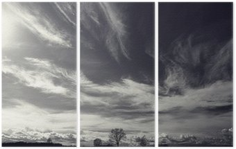 black and white photo autumn landscape Triptych