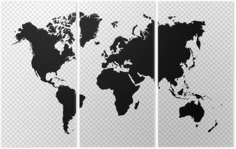 Black silhouette isolated World map EPS10 vector file. Triptych