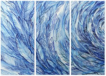 Triptych blue feathers in a circle, watercolor abstract background