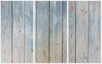 Blue Vintage wooden background Triptych