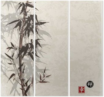 Card with bamboo on vintage background in sumi-e style. Hand-drawn with ink. Contains hieroglyph - happiness, luck Triptych