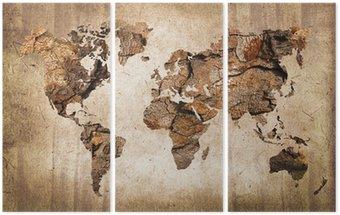 Triptych Carte du monde bois, texture vintage