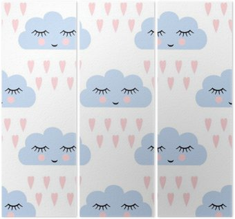 Clouds pattern. Seamless pattern with smiling sleeping clouds and hearts for kids holidays. Cute baby shower vector background. Child drawing style rainy clouds in love vector illustration. Triptych