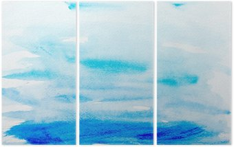 Triptych color strokes watercolor painting art
