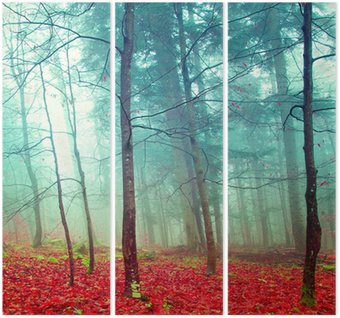 Triptych Colorful mystic autumn trees