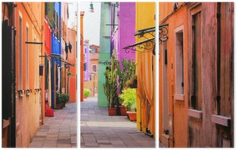 Triptych Colorful street in Burano, near Venice, Italy