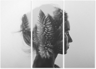 Creative double exposure with portrait of young girl and flowers, monochrome Triptych
