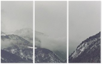 Dark clouds looming over mountain Triptych