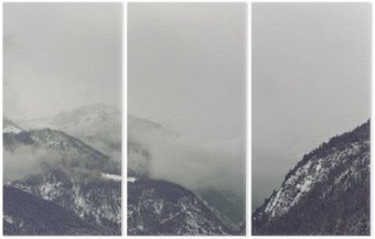 Triptych Dark clouds looming over mountain