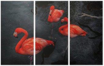 Flamingos 3 Triptych