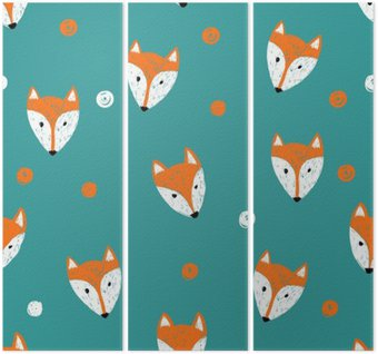 Fox seamless pattern. Doodle background. Triptych