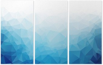 Geometric blue ice texture background Triptych