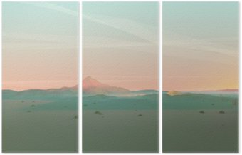Triptych Geometric Mountain Landscape with Gradient Sky