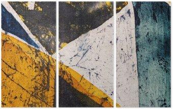 Geometry, hot batik, background texture, handmade on silk, abstract surrealism art Triptych