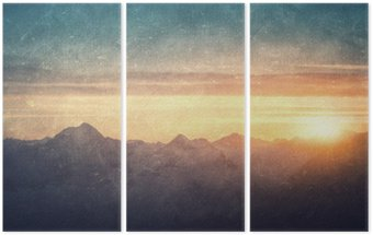 Grunge styled lanscape Triptych