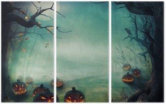 Triptych Halloween design - Forest pumpkins