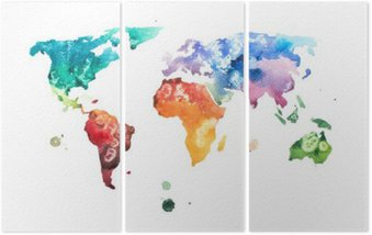 Hand drawn watercolor world map aquarelle illustration. Triptych