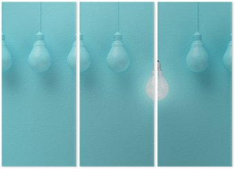 Hanging light bulbs with glowing one different idea on light blue background , Minimal concept idea , flat lay , top Triptych