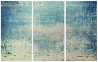 Horizontally oriented blue colored grunge background Triptych