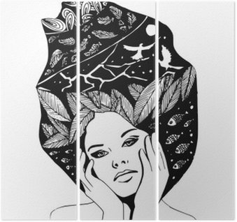 illustration, graphic black-and-white portrait of woman Triptych