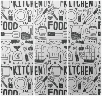 Kitchen elements doodles hand drawn line icon,eps10 Triptych
