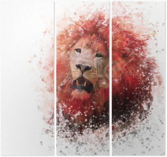 Lion Head watercolor Triptych